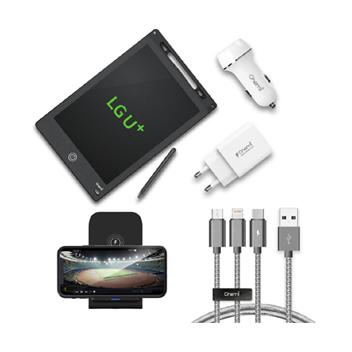 [3만원] 케미 올인원 기프트 박스_LCD 전자노트패드 8.5인치, QC3.0가정용 급속충전기, QC3.0차량용 급속충전기, 3WAY ALL IN ONE 메탈 케이블, 급속 무선충전거치대